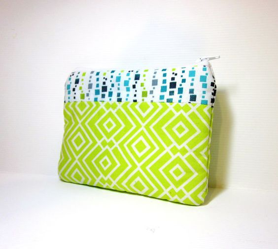 Small Cotton Zipper Pouch  Lime and Blue by handjstarcreations, $8.50