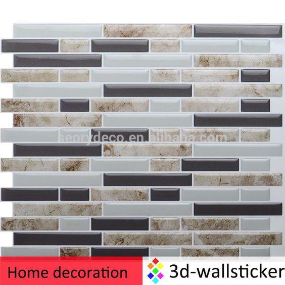 Marble printed self-adhesive wall tile