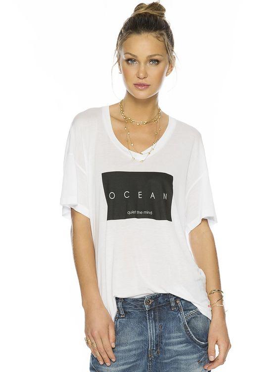 Ocean Quiet The Mind White Mia V. Fashion Top