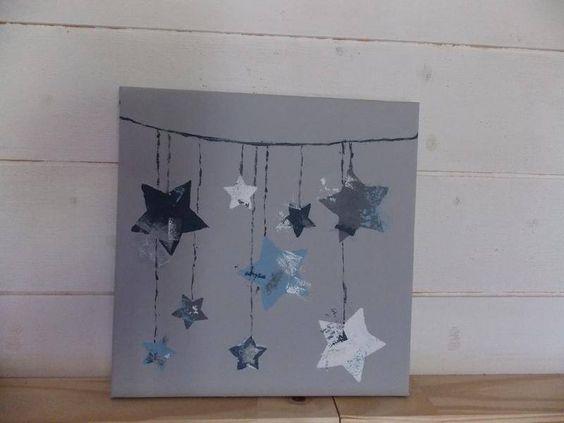 Tableau toiles bleu et gris d coration pour enfants tibou cr ation fai - Idee tableau fait maison ...