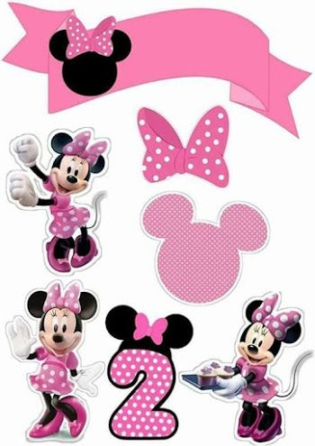 Minnie In Pink Free Printable Cake Toppers Minnie Mouse Pink Minnie Mouse Printables Minnie Mouse Birthday Decorations