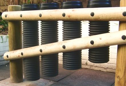 Drain pipe drums for a musical outdoors outdoor learning for Outdoor drain pipe