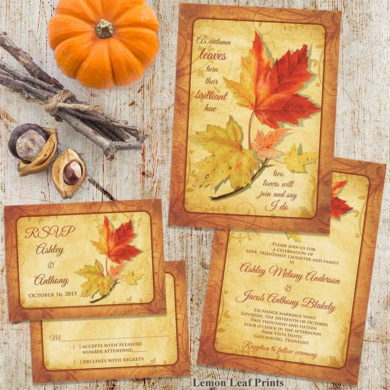 This warm autumn wedding design by Wasootch has so much character and depth to it. If you are looking for a fresh take on an autumn leaves design, try this one out. Find it here: http://lemonleafprints.com/fall-wedding-invitation-maple...