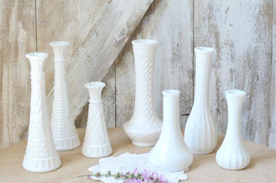WhiteMilk Glass Vase Set