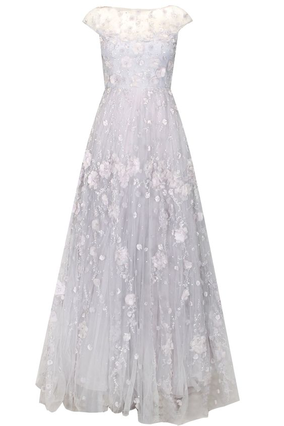 Light lilac beaded and floral threadwork flared gown available only at Pernia's Pop Up Shop.