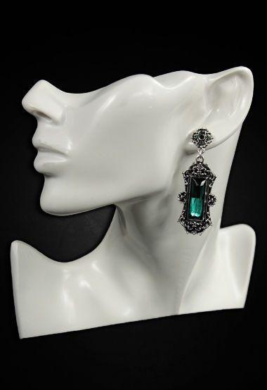 Restyle Ohrringe Vivian Violett Smaragd Gothic Vintage Earrings Royal Barock