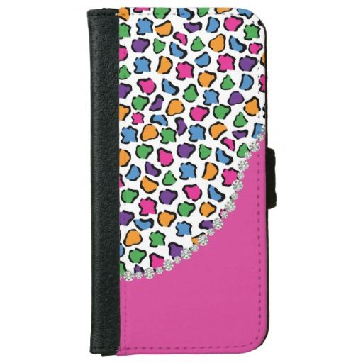 Colorful Leopard Print, Pink, Diamond Twirl Flap