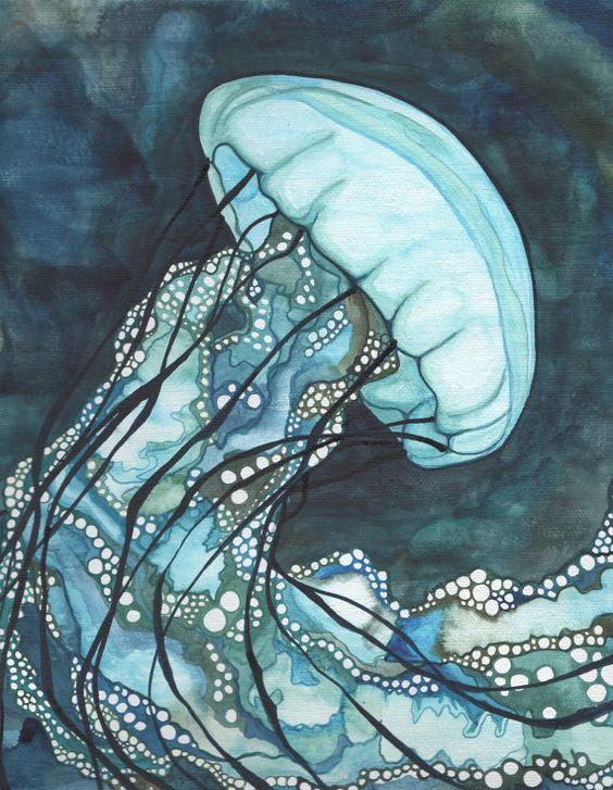 AQUA Sea Nettle méduses 8,5 x 11 imprimer d'oeuvre détaillée aquarelle en turquoise foncé bleu et vert d'algues teal, océan gelées
