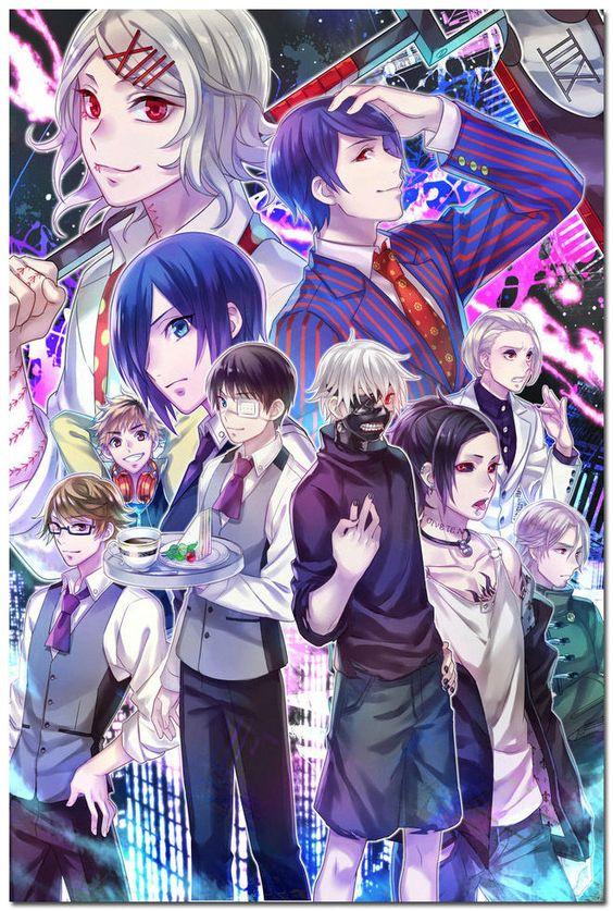 Goedkope tokyo ghoul japanse anime poster kunst zijde 24x36inch grote prints…