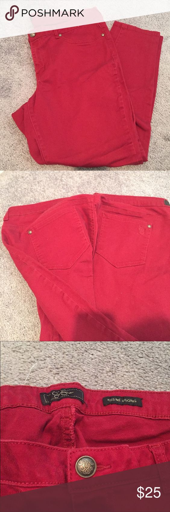 Red Jessica Simpson denim jeggins plus size 24 Gently worn. Red Jessica Simpson denim jeggins plus size 24 Jessica Simpson Jeans
