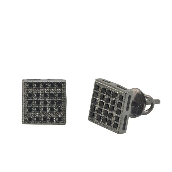 Sterling Silver Screwback Earrings Pave CZ Black Cubic Zirconia Studs 7mm Square