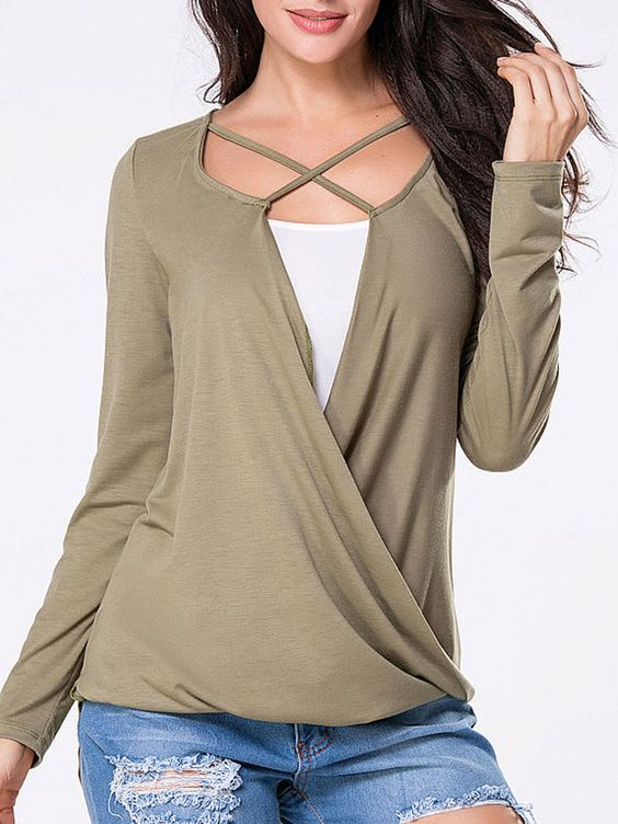 Spring Blend Women Surplice Plain Long Sleeve T Shirt