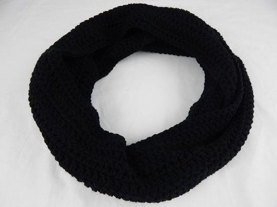 Black Infinity Scarf Womens Crochet Cowl Knit Circle Scarf Fall and Winter Neckwarmer #fashion #winter