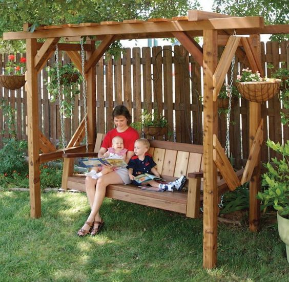 Swings outdoor swings and journals on pinterest - Backyard swing plans photos ...