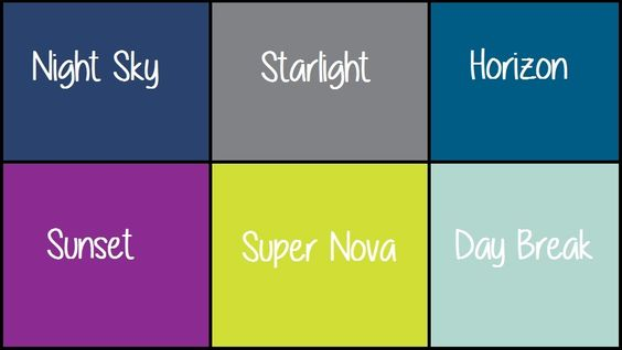 Table Names are from MOPs Starry Eyed color pallete