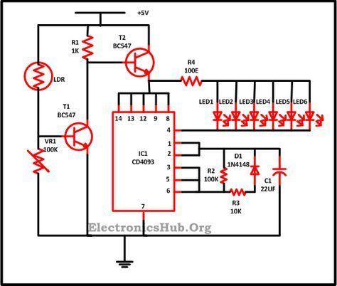 led lighting circuit diagram using 40 LED IC 555 transistors