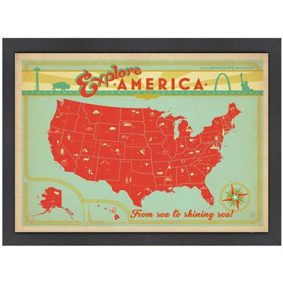 <3 Explore America Map Wall Art.  Love, love, love this!  :)