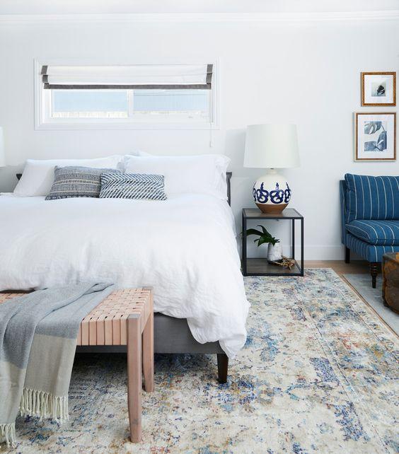 blue / white / gray bedroom