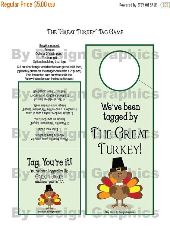 """SALE Digital Great Turkey Tag Game. INSTANT DIGITAL Files. Thanksgiving version of """"you've been BOOed"""".  Fun for friends, neighbors and clas"""