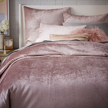 """I can't help but think of the line """"What is this, velvet?"""" From Coming To America. And yet it is wondrously, plushly, blushly pink and sumptuous to even cast a gaze upon. This is a bed that would hold you at night. Washed Luster Velvet Duvet Cover + Shams #westelm"""