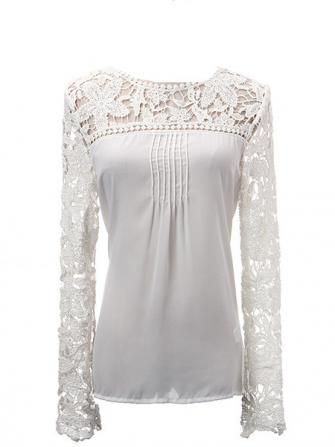 Hollow Lace Long Sleeve Front Chiffon Fold Women T-shirt | Lace ...