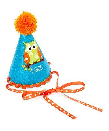 Orange Pom Pom Personalized Birthday Party Hat by Sunshine Daydream Creations on #zulily #zulilybday