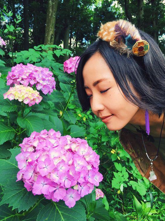 紫陽花と木南晴夏