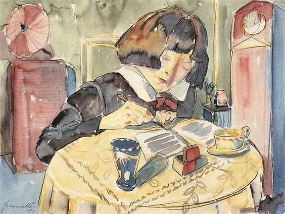 Writing Girl by W. Gramatté, c. 1920: