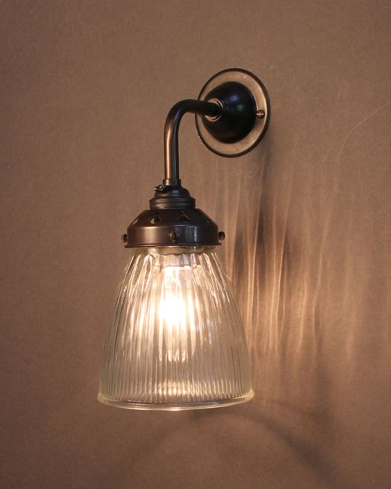 Industrial Wall Light with striped, prismatic glass shade. Handmade in the UK by Fritz Fryer ?70 ...