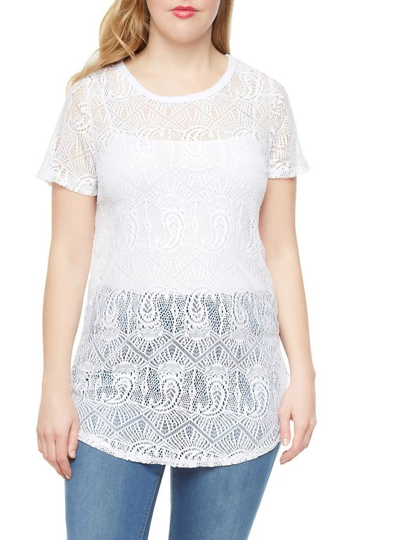 Rainbow Plus Size Crochet Tunic With Short Sleeves | Whether this plus size crochet tunic is worn as a bathing suit cover-up or for a night out, this cute top is always ready to serve up some serious style.  This top features an open crochet, a round neck, short sleeves and a longer length.  Style this plus size crochet tunic with a tank top, distressed jean shorts and tie ankle pointy toe flats.