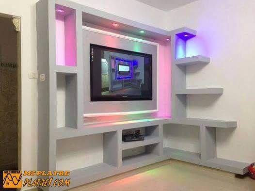 Resultat De Recherche D Images Pour Meuble Tv Ba13 Simple Tv Wall Design Tv Room Design Ceiling Design Modern