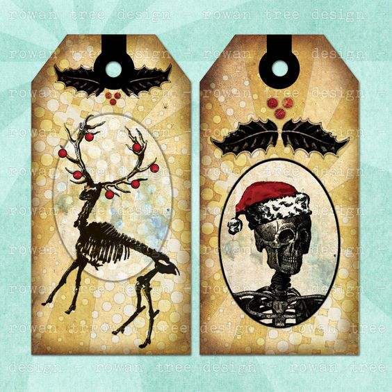 Gothic Christmas printable tags