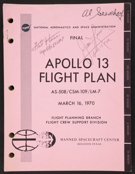 NASA Final Apollo 13 Flight Plan Book Signed by Mission Commander James Lovell and Lunar Module Pilot, Fred Haise