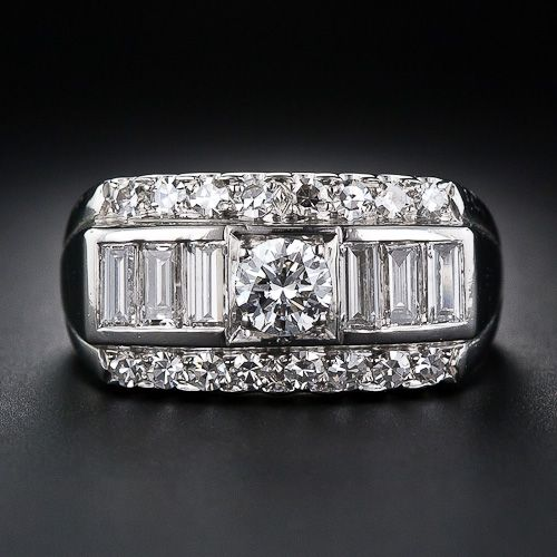 Granat Brothers Mid-Century Platinum and Diamond Band Ring - 10-1-5269 - Lang Antiques