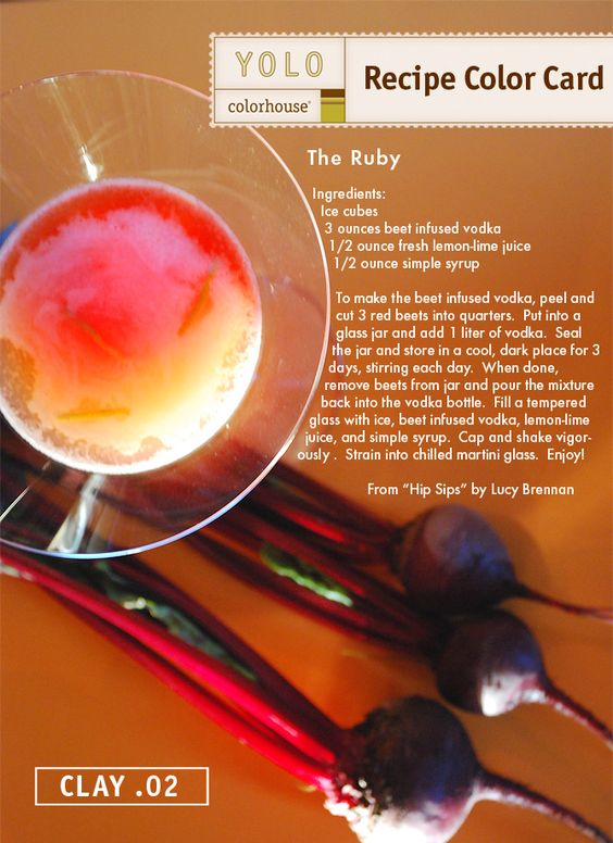 Great drink for warm weather.  YOLO Colorhouse Recipe Color Card:  Ruby Drink