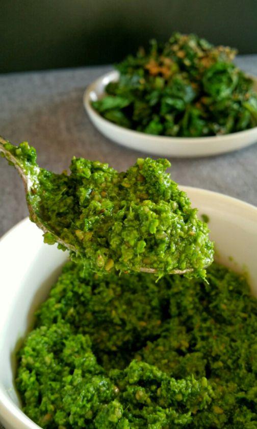 Pesto de chou Kale, noix et sésame