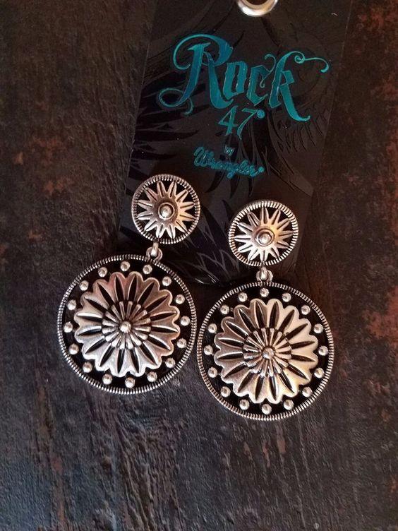Cowgirl Gypsy Western CONCHO Southwestern Earrings WRANGLER ROCK 47  #wranglerrock47 #PIERCED