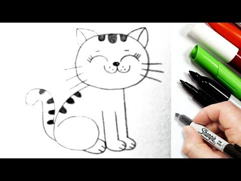 Easy Drawing How To Draw A Cat Easy Step By Step Cool Drawings Pencil Sketch Youtube Cool Drawings Pencil Drawings Easy Drawings