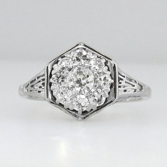 Glittering Impressive Art Deco Old European Cut Diamond Engagement Ring Platinum on Etsy, $2,450.00