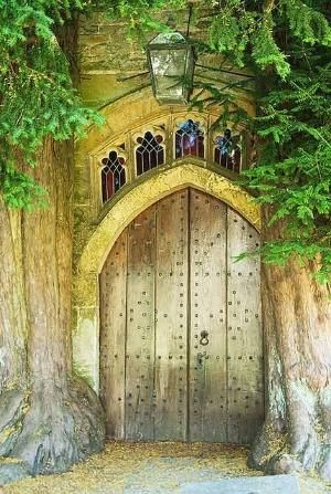 'Moria' Door This back door at the St. James Church in the village of Stow-in-the-Wold in England is thought to be the inspiration for the Moria door in Tolkein's Lord of the Rings series. He was known to have passed through this area prior to writing The Lord of the Rings. The door is flanked by yew trees, often planted in church lots due to a spiritual significance. by Ainic