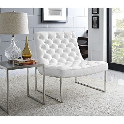 Tufted White Faux Leather Chair