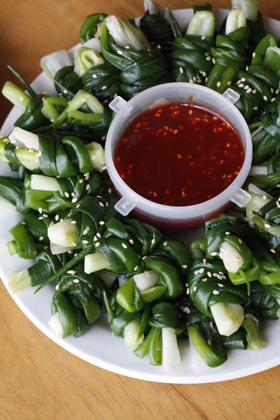 Scallion Bundles & sauce....Can do with Ramps too!