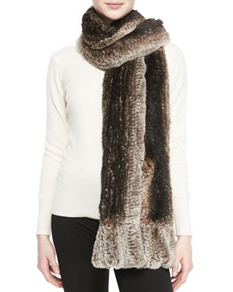 Knitted Rabbit Fur Pocket Wrap by Belle Fare at Neiman Marcus.395