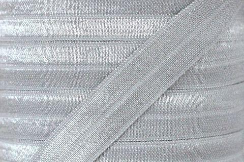 "Light Silver 5/8"" Fold Over Elastic"