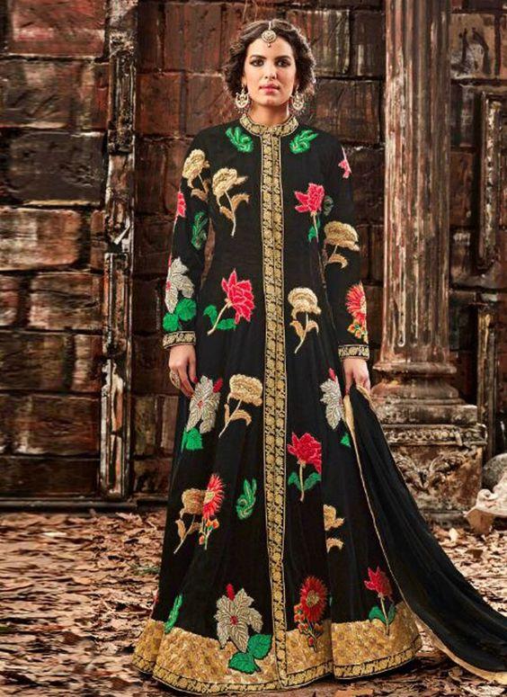Buy Apparels- Black Colour Velvet Heavy Embroidery Work Wedding Wear Suit