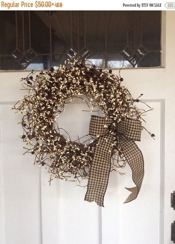 ANNIVERSARY SALE Grapevine Wreath - Pip Berry Wreath - Christmas Wreath - Americana Wreath - Primitive Berry Wreath - Holiday Wreath by ThePumpkinLadies on Etsy https://www.etsy.com/listing/225546309/anniversary-sale-grapevine-wreath-pip