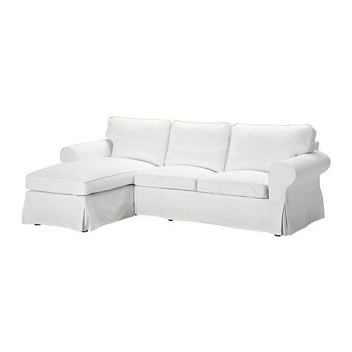 Ektorp Two-seat sofa and chaise longue, Blekinge white 375  Width: 252 cm  Min. depth: 88 cm  Max. depth: 163 cm  Height: 88 cm  Seat height: 45 cm