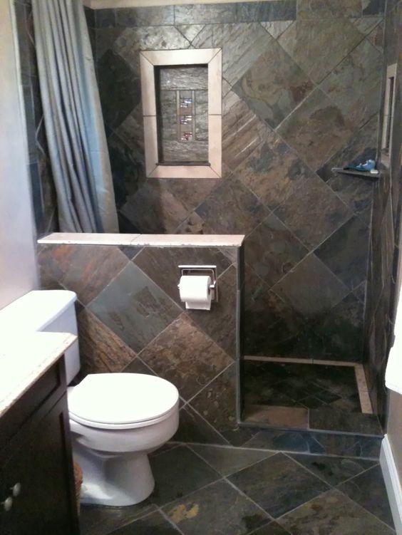 Pakai batu alam kamar mandi minimalis desain kamar Small bathroom makeovers