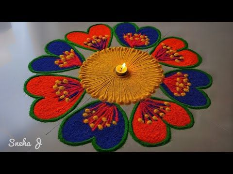 Super Creative And Innovative Beautiful Flowers Rangoli Design Easy Simple Rangoli Design Rangoli Designs Flower Rangoli Designs Images Easy Rangoli Designs