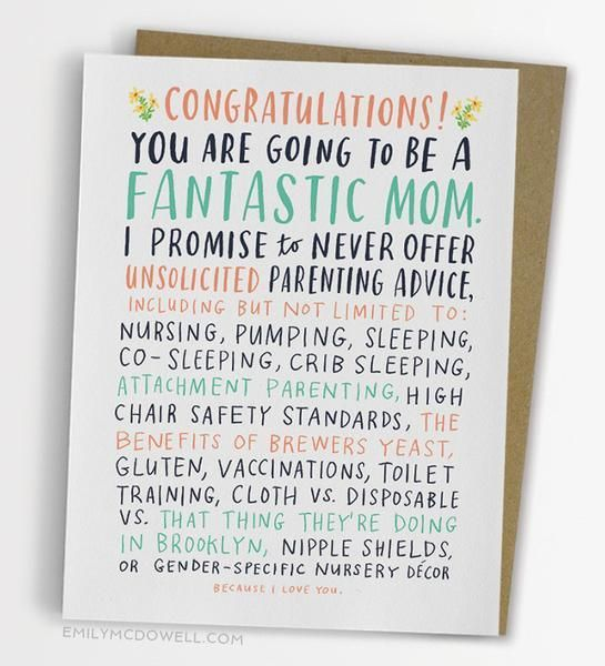 Unsolicited Advice New Mom Card The Bullish